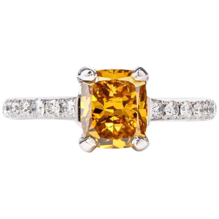 Natural Fancy Deep Orange-Yellow GIA Diamond 18 Karat Engagement Ring For Sale