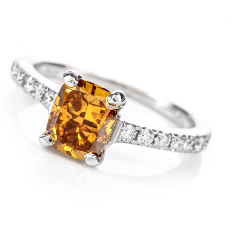 Natural Fancy Deep Orange-Yellow GIA Diamond 18 Karat Engagement Ring In Excellent Condition For Sale In Miami, FL