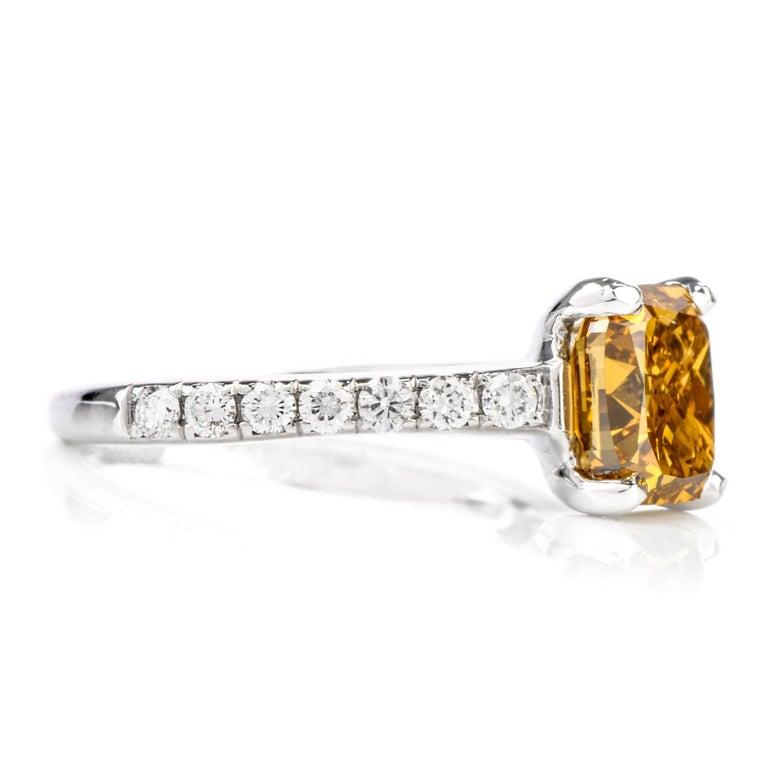 Women's or Men's Natural Fancy Deep Orange-Yellow GIA Diamond 18 Karat Engagement Ring For Sale