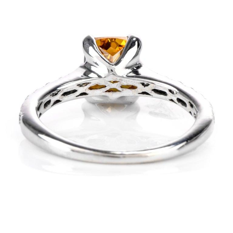 Natural Fancy Deep Orange-Yellow GIA Diamond 18 Karat Engagement Ring For Sale 1