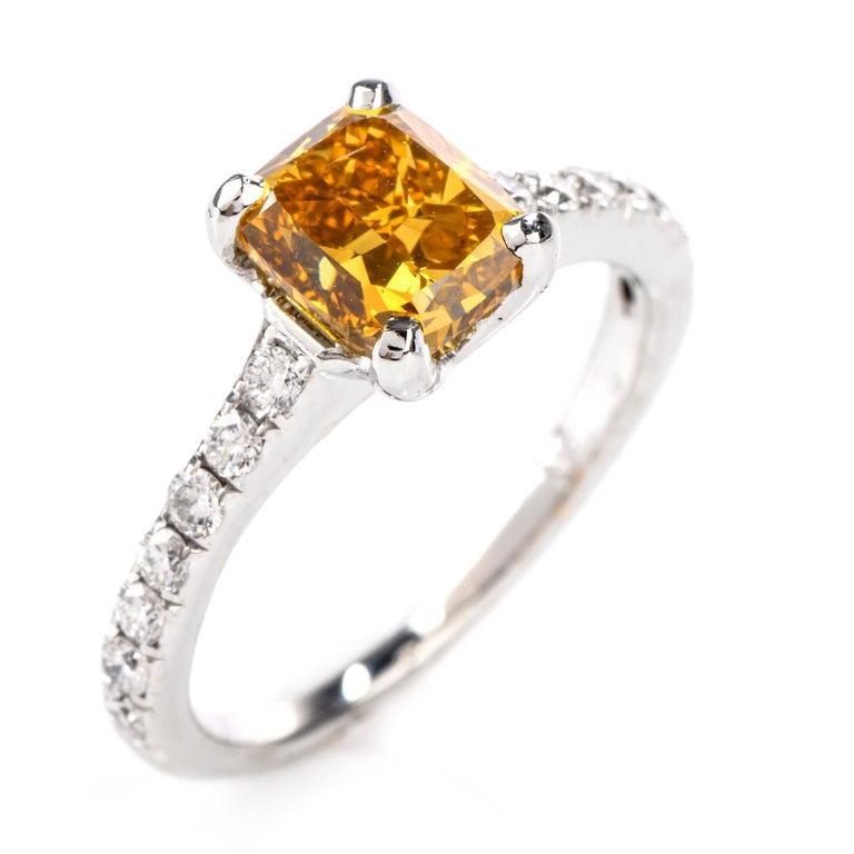 Natural Fancy Deep Orange-Yellow GIA Diamond 18 Karat Engagement Ring For Sale 2
