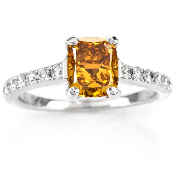 Natural Fancy Deep Orange-Yellow GIA Diamond 18 Karat Engagement Ring For Sale 3