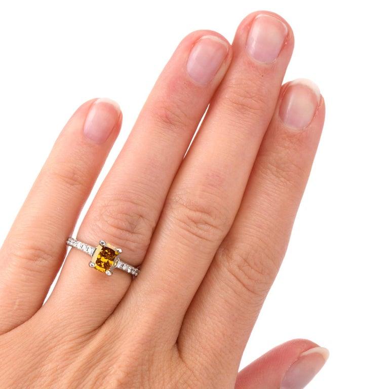Natural Fancy Deep Orange-Yellow GIA Diamond 18 Karat Engagement Ring For Sale 4