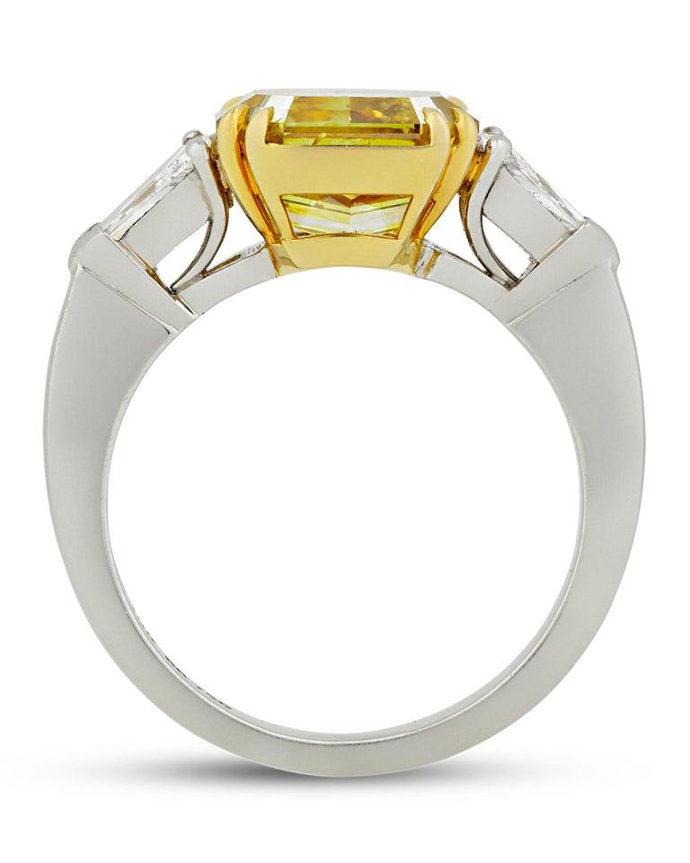 Modern Natural Fancy Deep Yellow Diamond Ring, 4.01 Carat For Sale