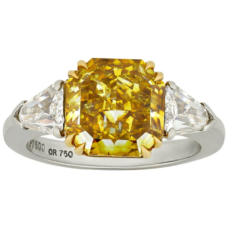 Natural Fancy Deep Yellow Diamond Ring, 4.01 Carat For Sale