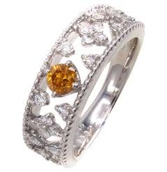 Natural Fancy Deep Yellow-Orange Diamond Eternity Band
