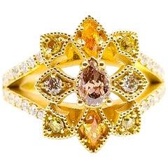 Natural Fancy Diamond Ring Purple Pink Green Yellow Orange Blue Gray 18 Karat