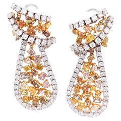 Natural Fancy Diamonds / Mixed Cut / Drop Earrings