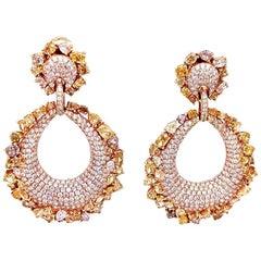 Natural Fancy Diamonds / Pave Teardrop Shape / Drop Earrings