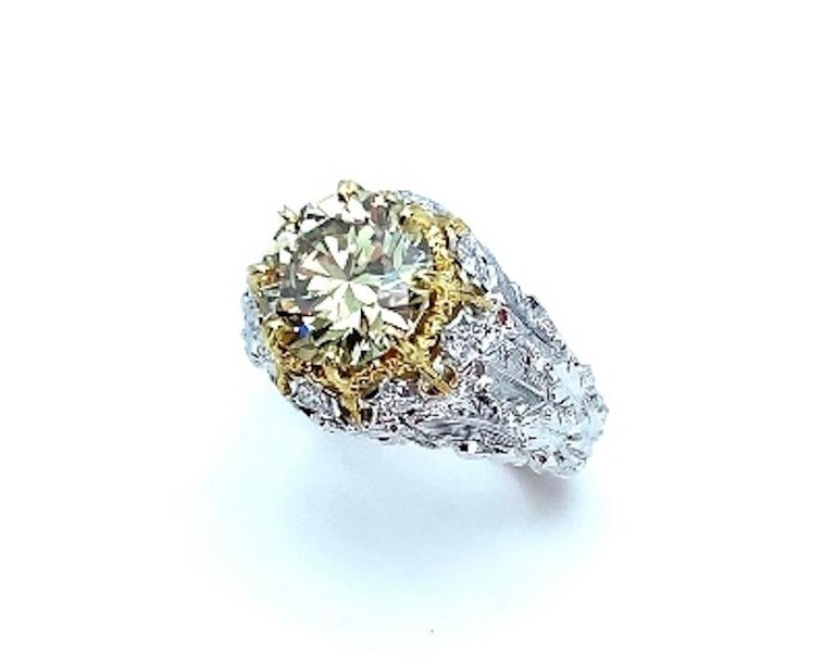 Artisan Natural Fancy Green 3.11 ct. Diamond GIA, 18k White, Yellow Gold Handmade Ring For Sale
