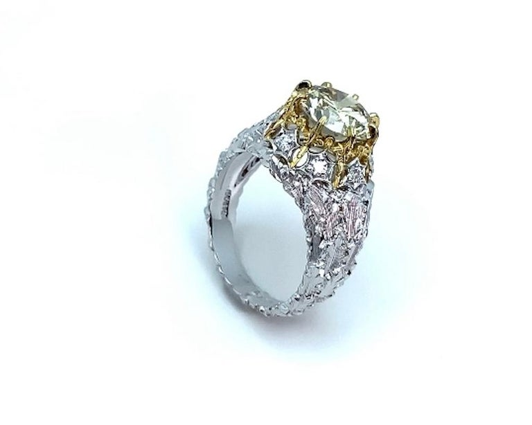 Natural Fancy Green 3.11 ct. Diamond GIA, 18k White, Yellow Gold Handmade Ring For Sale 5