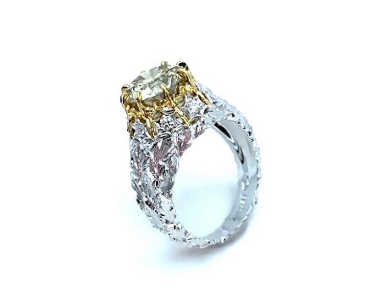 Natural Fancy Green 3.11 ct. Diamond GIA, 18k White, Yellow Gold Handmade Ring For Sale 6