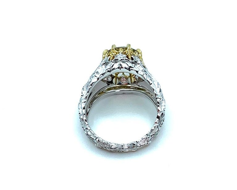 Natural Fancy Green 3.11 ct. Diamond GIA, 18k White, Yellow Gold Handmade Ring For Sale 4