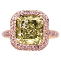 Nally  Natural Fancy Green-Yellow Diamond Ring GIA