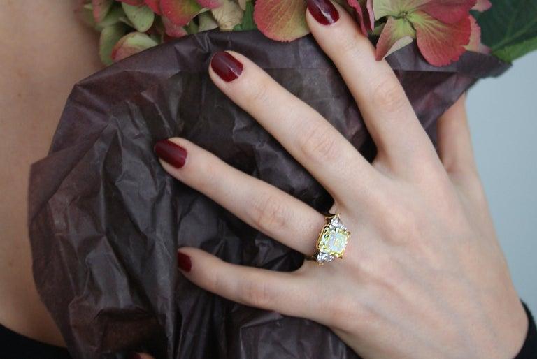 Women's or Men's Natural Fancy Intense Yellow 6.61 Carat Radiant Cut Diamond Gold Platinum Ring For Sale