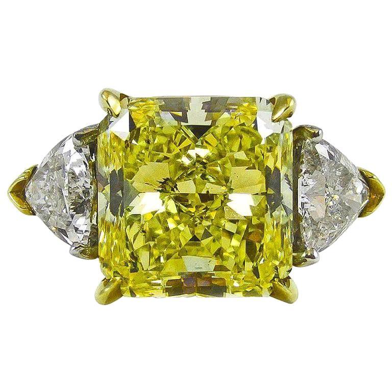 Natural Fancy Intense Yellow 6.61 Carat Radiant Cut Diamond Gold Platinum Ring For Sale