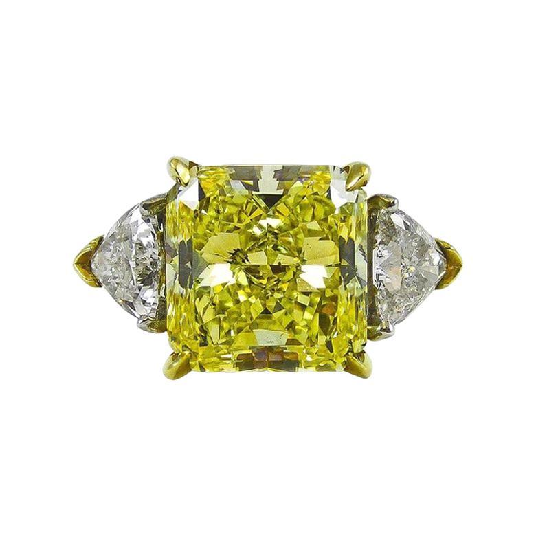 Natural Fancy Intense Yellow 6.61 Carat Radiant Cut Diamond Gold Platinum Ring