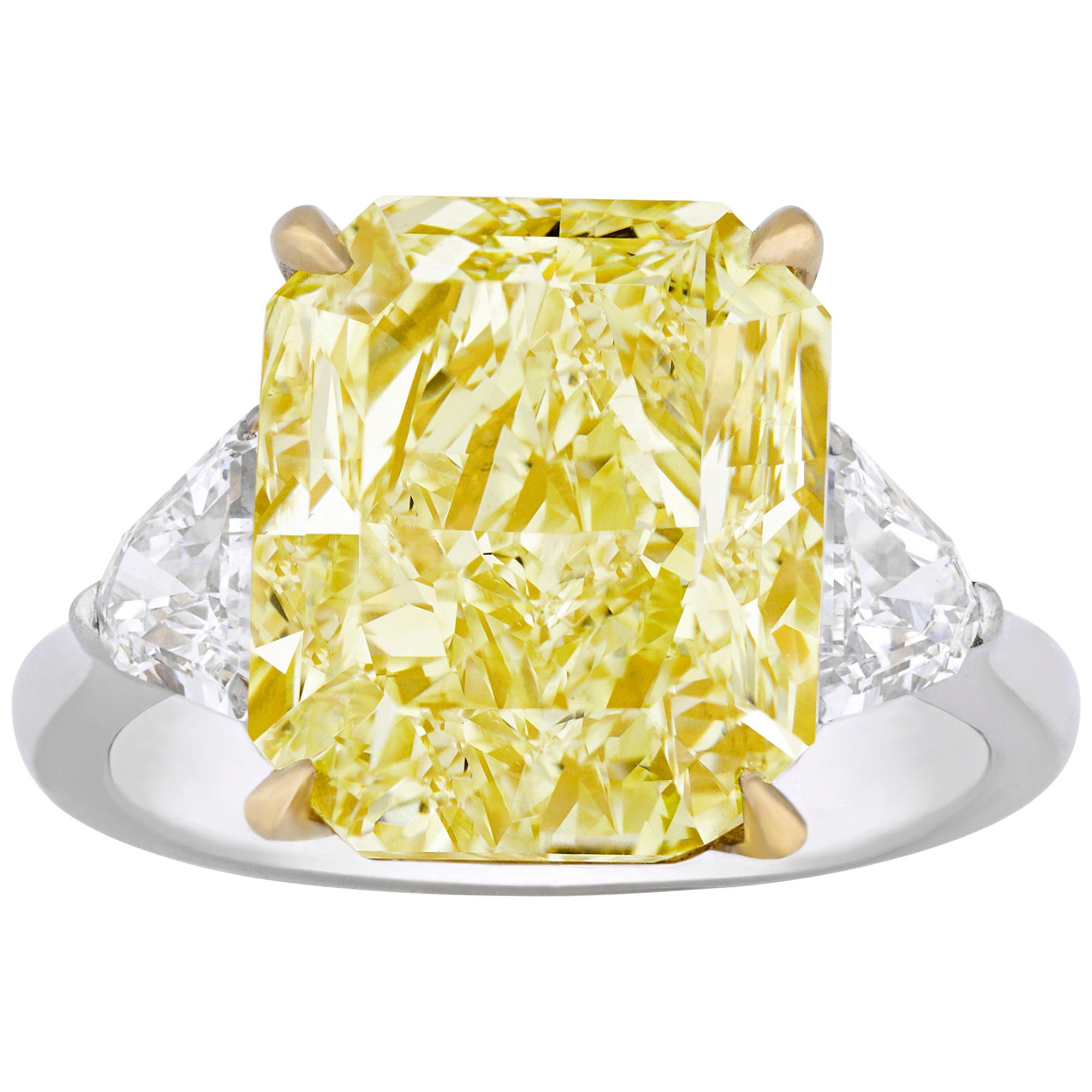 Natural Fancy Intense Yellow Diamond Ring, 8.06 Carat