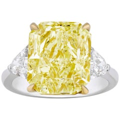 Natural Fancy Intense Yellow Diamond Ring, 8.06 Carat