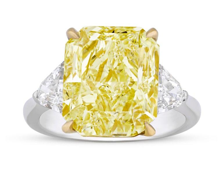 Brilliant Cut Natural Fancy Intense Yellow Diamond Ring, 8.06 Carat For Sale