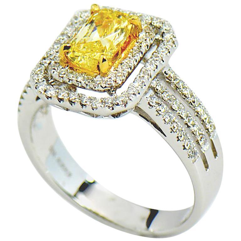 Natural Fancy Intense Yellow Diamond Ring