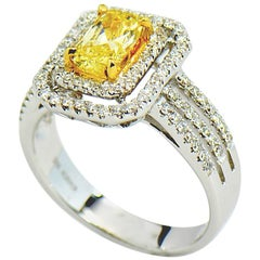 Natural Fancy Intense Yellow Diamond Ring