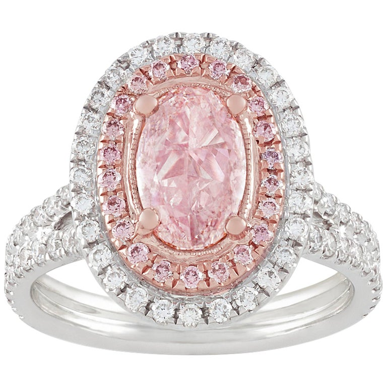 Natural Fancy Light Pink Diamond Ring, 1.30 Carat For Sale