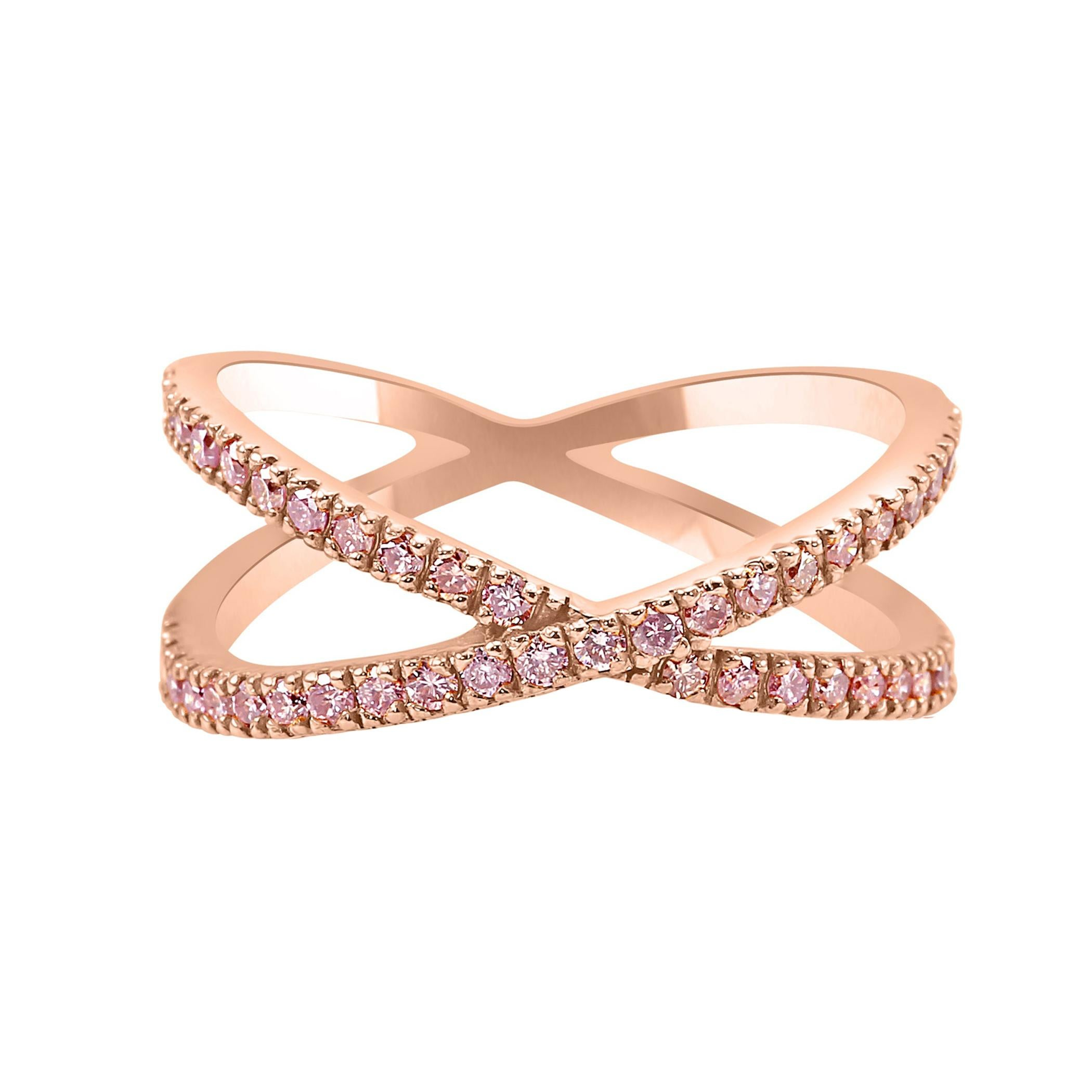 Natural Fancy Light Pink Diamond Round 14K Rose Gold Stackable Fashion Band Ring