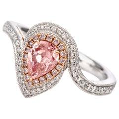 Natural Fancy Light Pink GIA Diamond 18 Karat Engagement Cocktail Ring