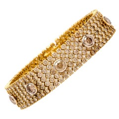 Natural Fancy Natural Brown Yellow Diamond Wide Gold Bracelet