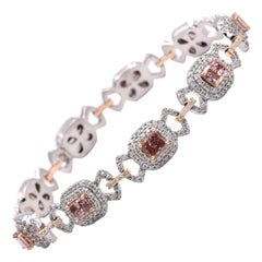 Natural Fancy Pink Color GIA Certified Diamond Bracelet
