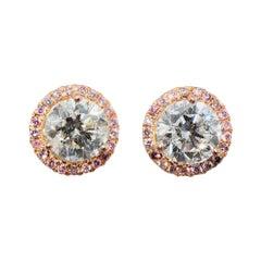 Natural Fancy Pink Diamond Earrings 18 Karat Pink Gold and Platinum