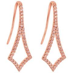 Natural Fancy Pink Diamond Round Dangle Drop Fashion Rose Gold Earring
