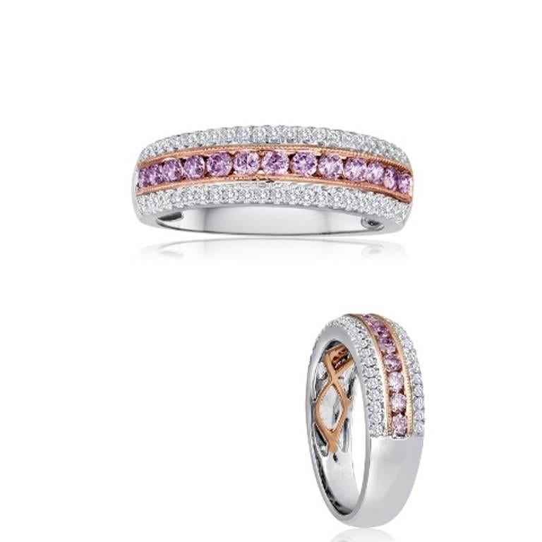 Round Cut Natural Fancy Pink Diamond Three-Row Two-Color Gold Cocktail Band Ring For Sale