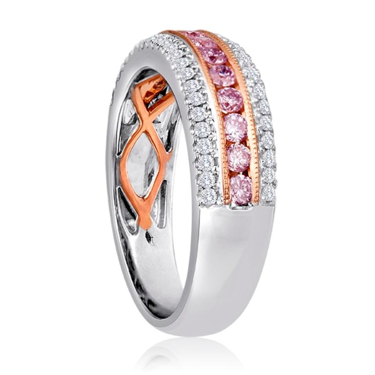 Natural Fancy Pink Diamond Three-Row Two-Color Gold Cocktail Band Ring In New Condition For Sale In NEW YORK, NY