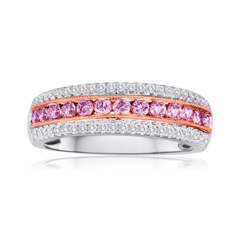 Women's or Men's Natural Fancy Pink Diamond Three-Row Two-Color Gold Cocktail Band Ring For Sale