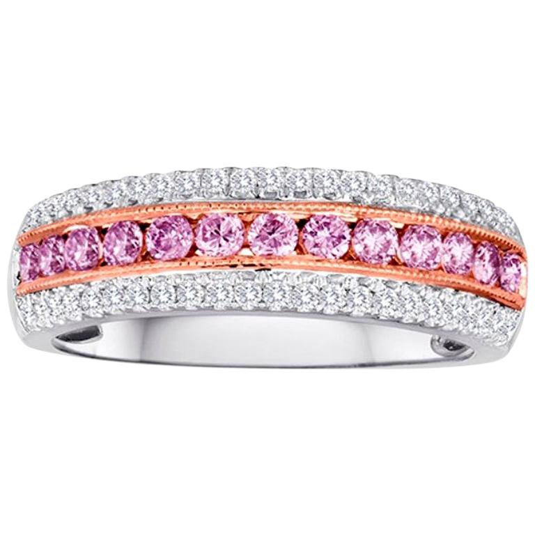 Natural Fancy Pink Diamond Three-Row Two-Color Gold Cocktail Band Ring For Sale
