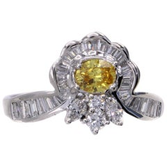 Natural Fancy Vivid Orange-Yellow Diamond Platinum Engagement Ring