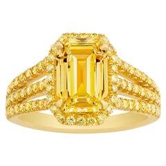 Natural Fancy Vivid Yellow Diamond Ring, 2.02 Carat