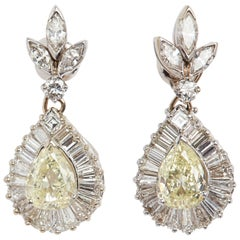 Natural Fancy Yellow and White Diamond Earrings with 18 Karat White Gold