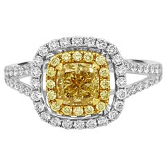 Natural Fancy Yellow Cushion Diamond Double Halo Two-Color Gold Bridal Ring