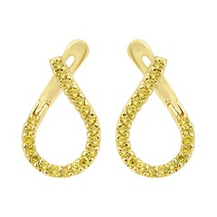 Natural Fancy Yellow Diamond 14 Karat Gold Fashion Hoop Clip-On Dangle Earring