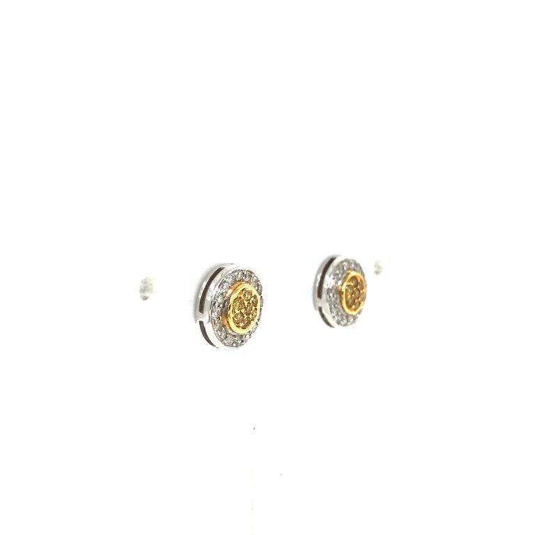 Modern Natural Fancy Yellow Diamond Cluster Earrings For Sale