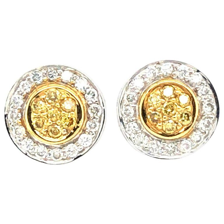 Natural Fancy Yellow Diamond Cluster Earrings For Sale