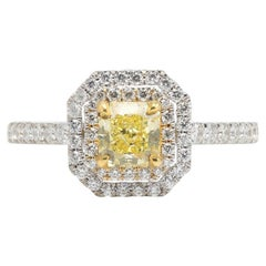 Natural Fancy Yellow Diamond Double Halo Engagement Ring