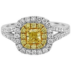 Natural Fancy Yellow Diamond Double Halo Two Color Gold Bridal Cocktail Ring