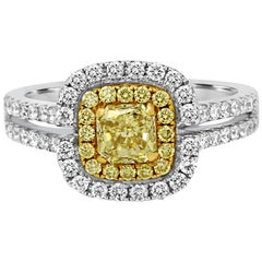 Natural Fancy Yellow Diamond Double Halo Two-Color Gold Bridal Cocktail Ring