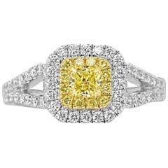 Natural Fancy Yellow Diamond Double Halo Two Color Gold Bridal Engagement Ring