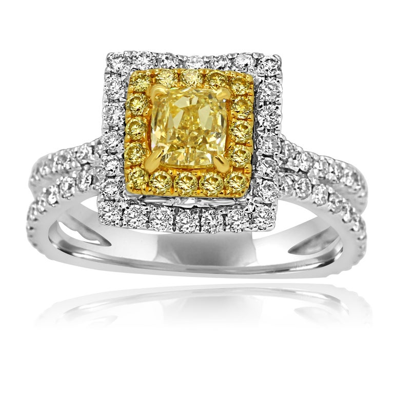 Contemporary Natural Fancy Yellow Diamond Double Halo Two-Color Gold Bridal Fashion Ring For Sale