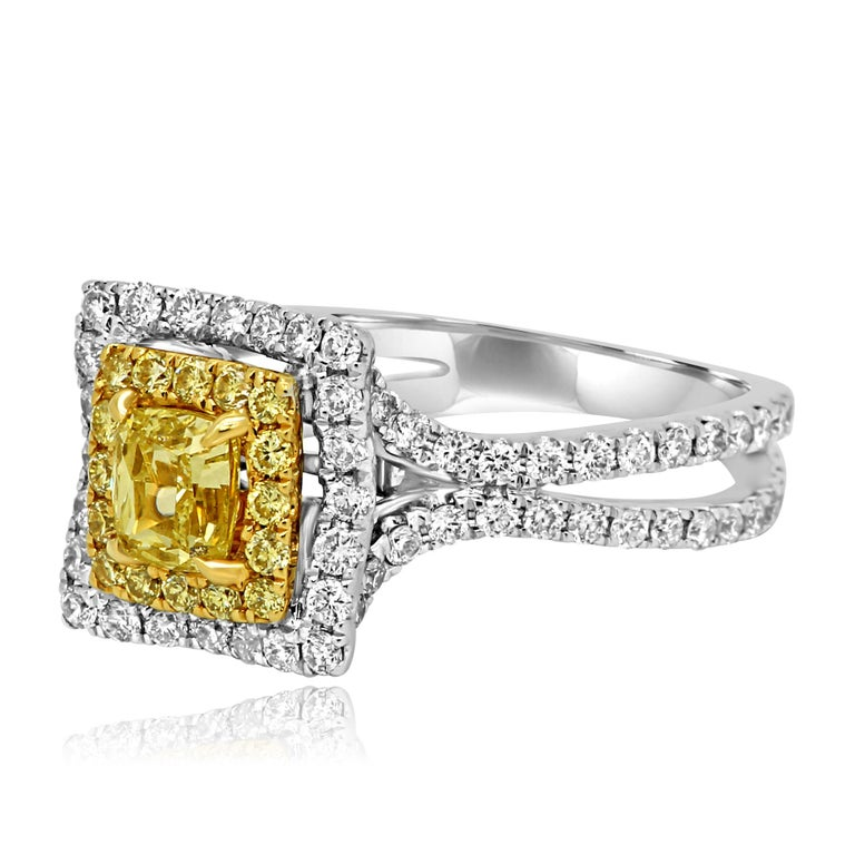 Natural Fancy Yellow Diamond Double Halo Two-Color Gold Bridal Fashion Ring In New Condition For Sale In NEW YORK, NY